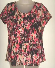 Women's small multi-color floral knit short sleeve top (Notations)