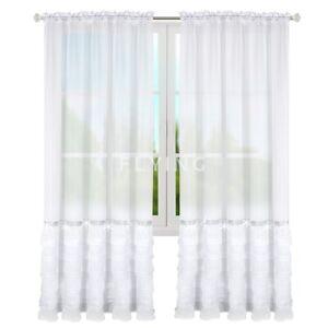 2er Set Gardinen Fertiggardine Vorhang Panel Weiß Wohnzimmer Zirkonia 250cm