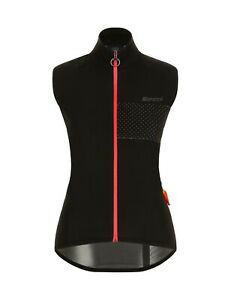 Santini Womens Guard Nimbus Cycling Wind Vest in Black/Pink - Made in Italy