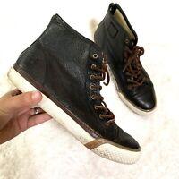 FRYE Men's SZ 8 Greene High Top Lace Black Leather Fashion Sneaker Shoes