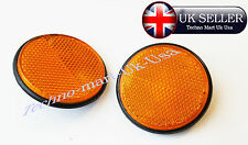 2x round Reflectors Orange Pick Up Trucks  Bus Lorry Horse Trailers Bolt On @UK