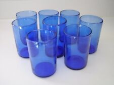 eight 10 oz coblat blue hand blown glass tumblers - pontil marks bottom Mexico