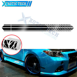 2x JDM Glossy Black Side Skirt Body Door Graphics Decal Sticker For Scion tc FRS