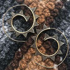 Snake Crown Tribal Spiral Earrings in Brass