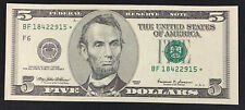 1999 $5 FRN STAR NOTE s/n BF18422915* CH CU FR 1987-F* Mr. C