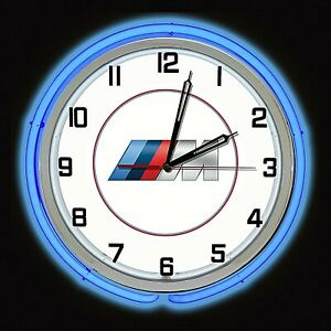 "19"" BMW M Series Sign Blue Neon Clock Chrome Case Bavarian Motor Works Man Cave"