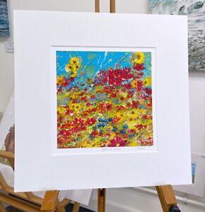 Vibrant flowers, 'Spring has Sprung' print 40x40cm painting by Julia Pankhurst