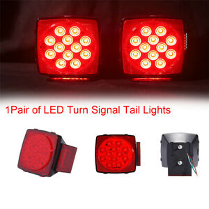 2PCS Car Truck Red/White LED Parking Turning Tail Lights License Plate Lights
