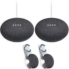 Mini altavoz inteligente de inicio de Google carbón 2 paquetes + Montaje en Pared 2x