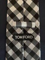 New Tom Ford Mens Necktie Tie Black Silver Gray Tones Grid Check 3.5 X 60.5