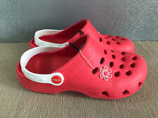 BNWT Ladies Older Girls Sz 5 Rivers Doghouse Brand Red white Clog Beach Shoes