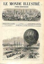 BALLON Hot air Balloon Maison-Alfort Montgolfière GRAVURE ANTIQUE OLD PRINT 1874