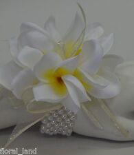 SILK WEDDING BOUQUET FRANGIPANI WRIST CORSAGE BRIDAL FLOWER WHITE YELLOW