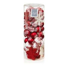 Décorations Arbre de Noël Paquet De 84 Arbre Boules Divers Formes Rouge et Blanc