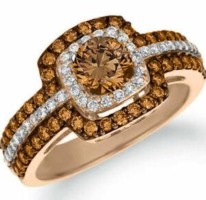 Double Halo Round Cut Chocolate CZ Women Fashion Ring #1022