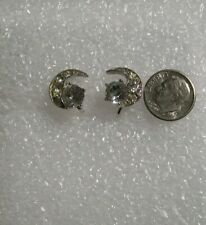 vintage BOGOFF Crescent Moon Rhinestone Clip Screw back Earrings
