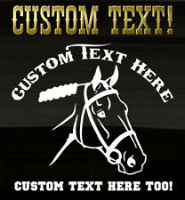 Horse Stallion Head YOUR CUSTOM TEXT Ranch Decal Graphic Horses Farm Sticker