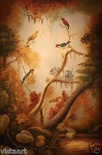 """Quality Oil Painting on Stretched Canvas - 24x36"""" Enchanting Birds on Branches"""