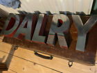 """8"""" Vintage Large Chrome And Red Metal Advertising Shop Letters DALRY Edinburgh"""