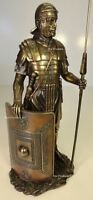ANCIENT TIMES ROMAN LEGION SOLDIER JAVELIN RECTANGLE SHIELD Statue Bronze Finish