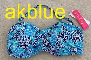 NWT Lilly Pulitzer Cay Twist Bandeau Bikini Swim Top Blue Light Aqua Spritz 14