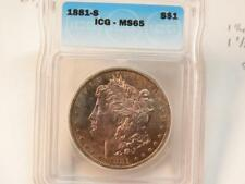 1881 S MORGAN DOLLAR ICG MS65  MUST SEE COLOR CLOSE TO PL