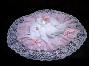 PRETTY WHITE SILKY NYLON MINI HALF SLIP PETTICOAT TIERED BABY PINK LACE BOWS