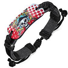 Zense - Bracelet homme cuir noir ajustable tête de mort pirate ZB0179