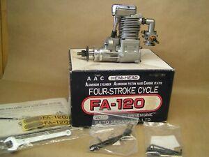 """NEW"" RARE SAITO FA-120, 4 stroke, tools, carb choke kit, orig. box & paperwork"