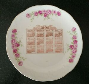 Antique N.C. Co  1908 CALENDAR PLATE PINK ROSES NATIONAL CHINA Company