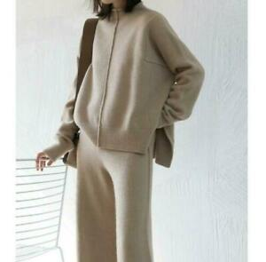 Womens Cashmere Knitted Sweater Pullover+Pants 2Pcs Set Stretchy Apricot US M
