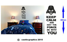 Keep Calm And May The Force Be With You Darth Vader Wall/ Window Decal Star Wars