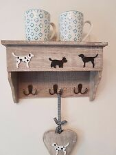 RUSTIC WOODEN SHELF CABINET COAT RACK KEY HOOKS DOG LEADS DISPLAY STORAGE DECOR