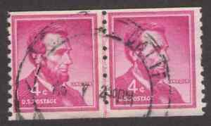 US. 1058. 4c. Abraham Lincoln. Coil Line Pair of 2. Small Holes. Used. 1958
