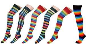 Ladies Women Multi Striped Rainbow Long Over the Knee Girls Socks Sizes 4 -8