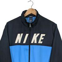 Nike Spell Out Logo Windbreaker - Mens Size Large - Blue & Navy Zip Up Jacket
