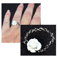 Bague fine chaine chainette acier (coul argent ) rose blanche fleur bijou ring