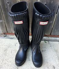 Hunter Limited Black Fringed Rubber Rain Boots US 5 UK 3 EU 36 New Gummistiefel