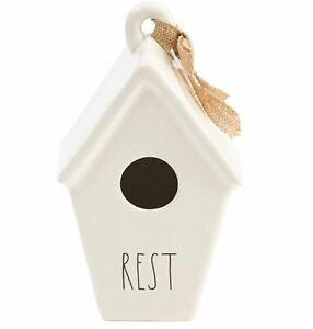 Rae Dunn Ceramic Birdhouse Rest Tapered Burlap Ribbon