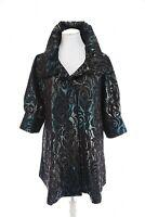Damee, Inc Metallic Ombre Blue Silver Black Floral Swing Jacket Sz XL Jacquard
