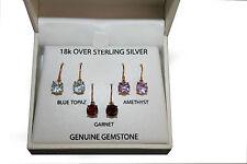VICTORIA TOWNSEND drop earrings / Amethyst, Garnet, Blue Topaz, 3 pairs