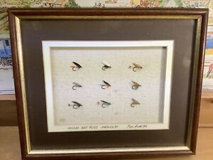 9 x Winged Wet Fly Collection Dressed & Signed by Ken Smith 1994 in Shadow Frame