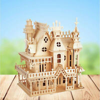 DIY Handcraft Castle Wooden Miniature Project Kit Victorian Doll House Kids Gift