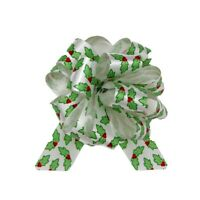 5 CHRISTMAS RIBBON POMPOM PULL BOWS HOLLY WHITE GREEN WRAPPING GIFTS HAMPERS BOW