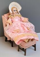 """1:12 VINTAGE DOLLHOUSE MINIATURE DOLL 5.5"""" TALL BISQUE HEAD SIGNED 1982"""