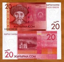 Kyrgyzstan, 20 Som 2016 (2018) P-New UNC > New Sig. Modified Portrait, New Date