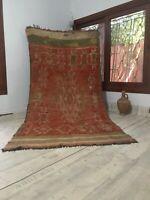 "Moroccan Antique handmade Carpet 9'3""x4'8"" Tribal Vintage Berber Red Green Rug"