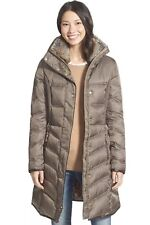 Betsey Johnson Taupe Grey Winter Coat Jacket Faux Fur Down Outerwear Small