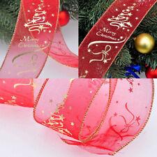 200 cm Gold&Red Flower Printing Christmas Ribbon Christmas Tree Decor Belt