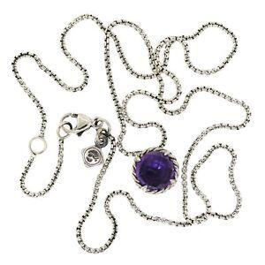 David Yurman Sterling Silver Chatelaine 8mm Amethyst Pendant Box Chain Necklace